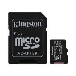 KINGSTON Memory Card MicroSD Canvas Go! Plus SDCG3/128GB, Class 10, SD Adapter