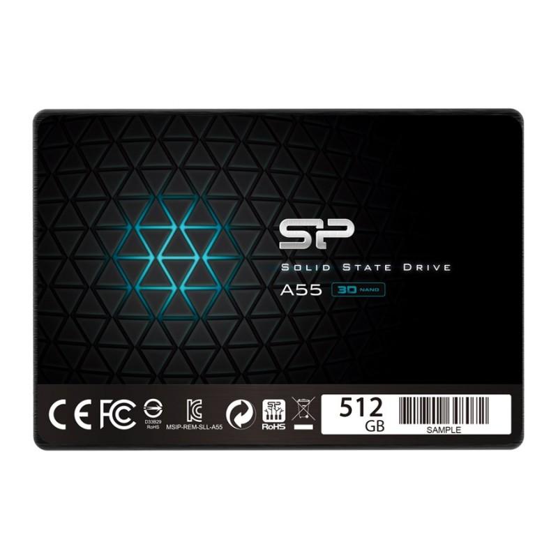 "SILICON POWER SSD A55 512GB, 2.5"", SATA III, 560-530MB/s 7mm, TLC"