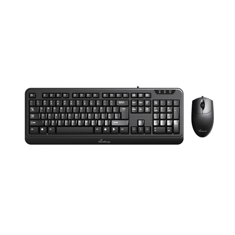 MediaRange Corded Keyboard & 3-button mouse set, Wired (Black) (MROS108-GR)