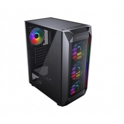 CC-COUGAR Case MX410 Mesh-G RGB Tempered Glass Middle ATX Black (4x120mm RGB fans preinstalled)